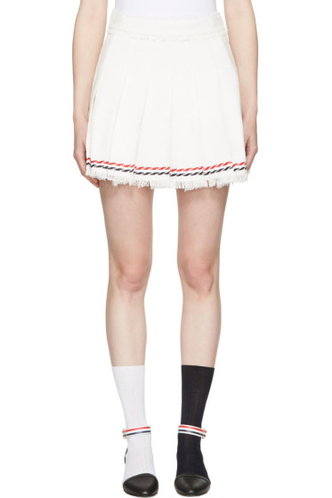 Thom Browne - White Selvedge Tweed Pleated Miniskirt