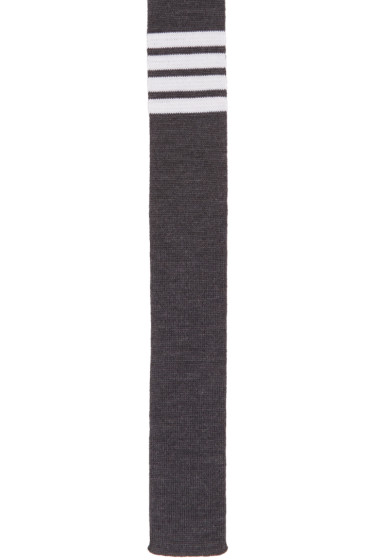 Thom Browne - Grey Knit Four Bar Tie
