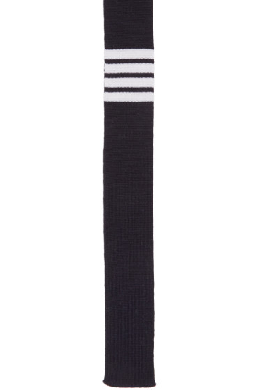Thom Browne - Navy Knit Four Bar Tie