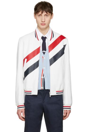 Thom Browne - White Stripe Varsity Jacket