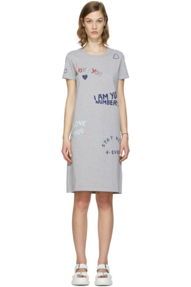Kenzo - Grey Valentines Text Dress