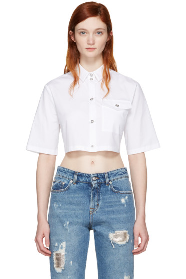 Versus - White Cropped Poplin Shirt