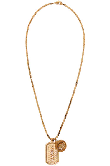 Versace - Gold Dog Tag Necklace