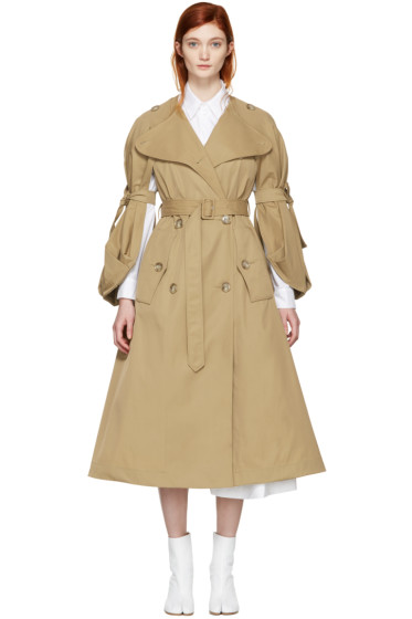 Simone Rocha - Tan Tie Sleeves Coat