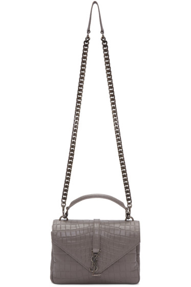 Saint Laurent - Grey Croc-Embossed Medium Monogram College Bag