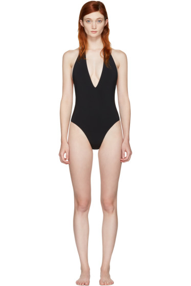 Saint Laurent - Black Deep V Swimsuit
