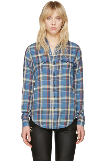 Saint Laurent - Blue Classic Western Plaid Shirt