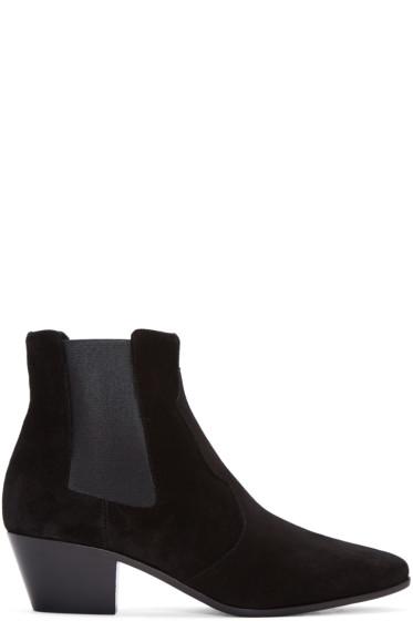 Saint Laurent - Black Suede Rock Western Boots