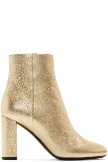 Saint Laurent - Gold Loulou Zipped Boots