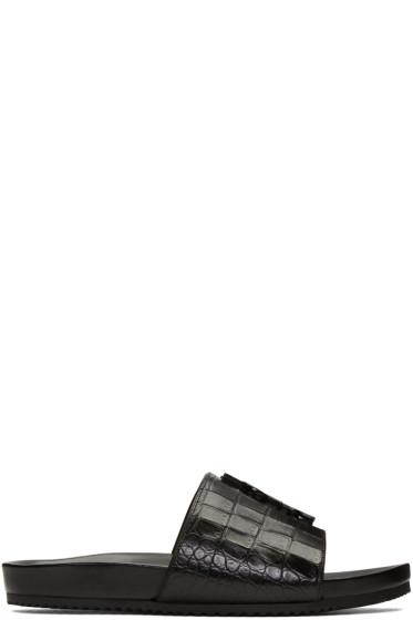 Saint Laurent - Black Croc-Embossed Joan Beach Slip-On Sandals