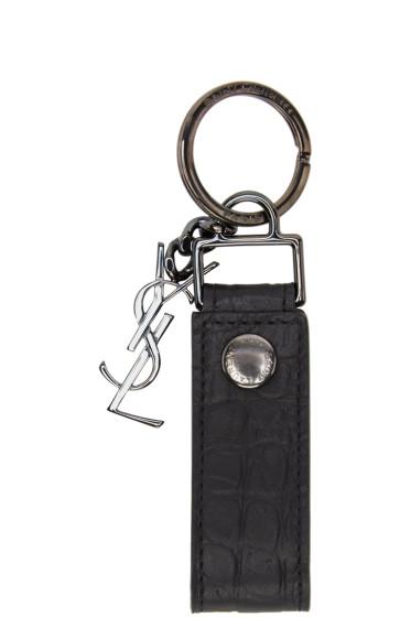Saint Laurent - Black Croc-Embossed Monogram Keychain