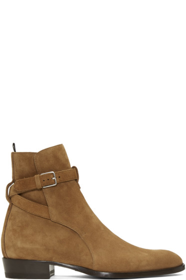 Saint Laurent - Brown Suede Wyatt Jodhpur Boots