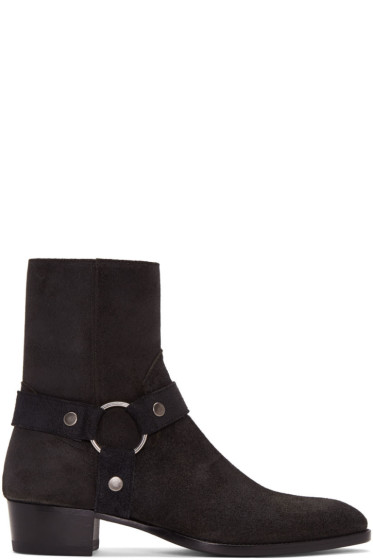 Saint Laurent - Black Suede Wyatt Harness Boots