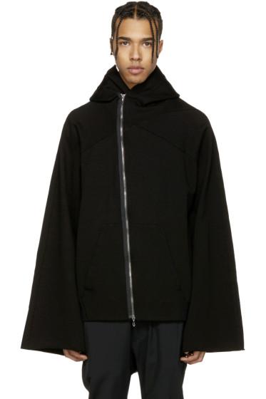 Julius - Black Asymmetric Patch Zip-Up Hoodie