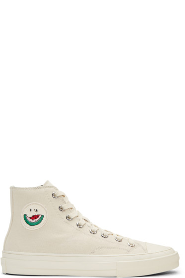 PS by Paul Smith - Ecru Watermelon Kirk High-Top Sneakers
