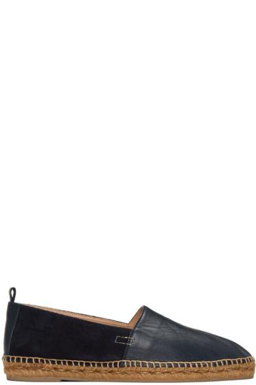 Castañer - Navy Leather & Suede Pablo Espadrilles