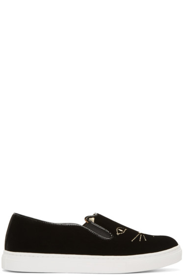 Charlotte Olympia - Black Velvet Cool Cats Sneakers