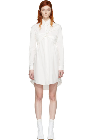 MSGM - White Bustier Knot Shirt Dress