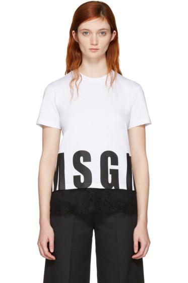 MSGM - White Lace Hem Logo T-Shirt