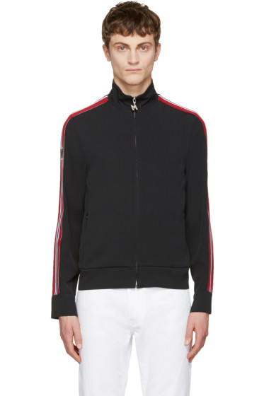 MSGM - Black Striped Tape Zip Track Jacket