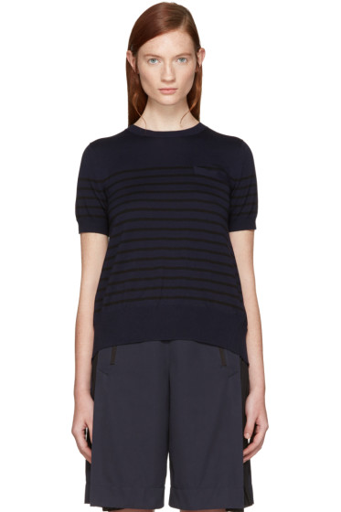 Sacai - Navy Striped Panel Pullover