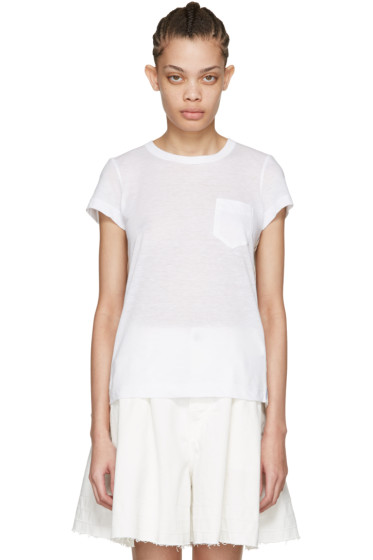 Sacai - White Striped Panels T-Shirt