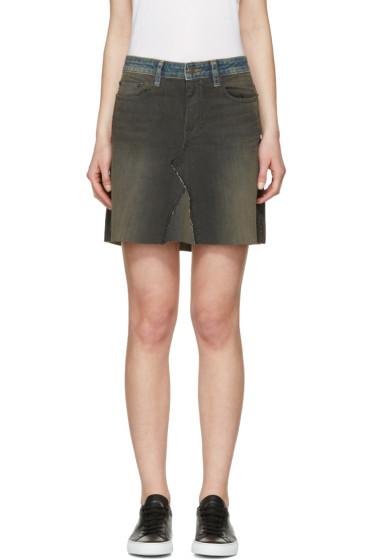 6397 - Black & Blue Denim Contrast Miniskirt