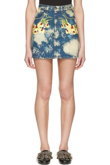 Gucci - Blue Denim Flower Patch Miniskirt