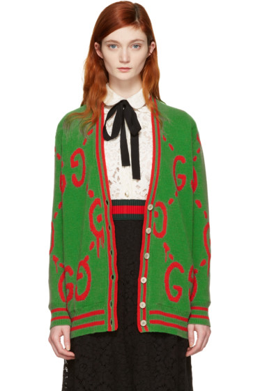 Gucci - Green Oversized GucciGhost Cardigan
