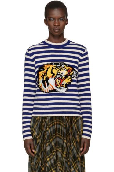 Gucci - Blue & White Striped Tiger Sweater