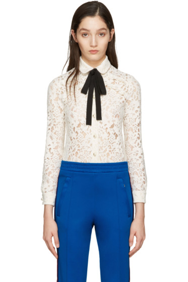 Gucci - Ivory Lace Bow Collar Shirt