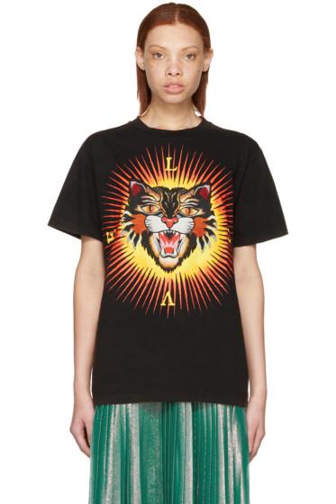 Gucci - Black 'Modern Future' Angry Cat T-Shirt