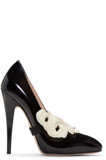 Gucci - Black Pearl Bow Elaisa Heels