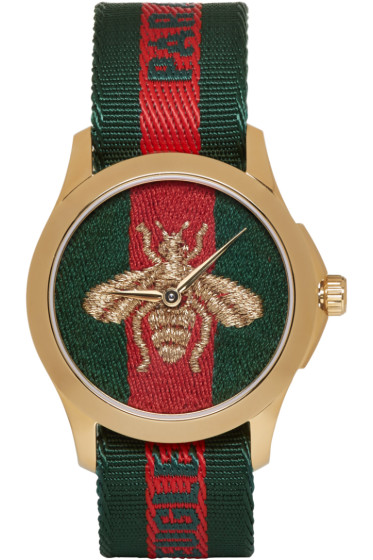 Gucci - Gold & Green 'L'Aveugle Par Amour' Bee Watch