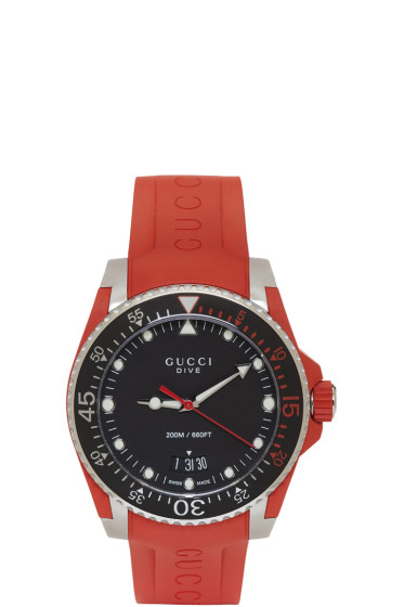 Gucci - Red & Silver Dive Watch