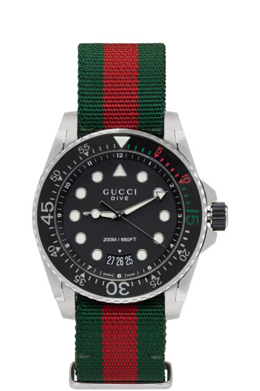 Gucci - Green & Red Web XL Dive Watch