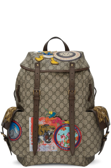 Gucci - Beige GG Supreme Donald Duck Backpack