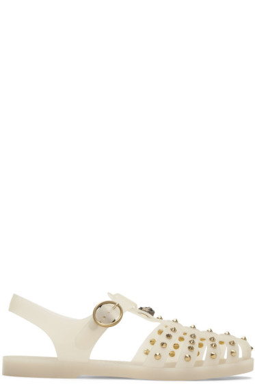 Gucci - Off-White Studded Rubber Sandals