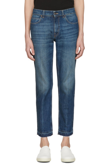 Stella McCartney - Navy Cropped Frayed Jeans