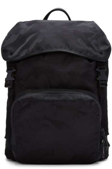 Valentino - Black Camo Jacquard Backpack