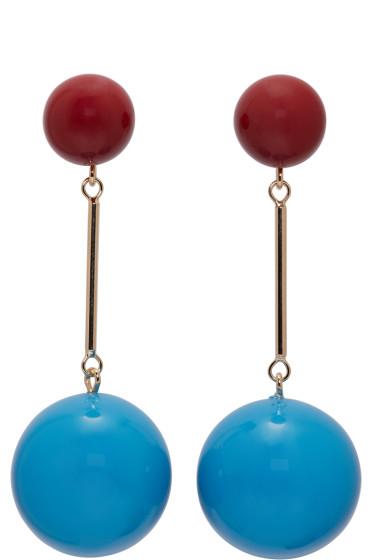 J.W. Anderson - Blue & Burgundy Sphere Earrings