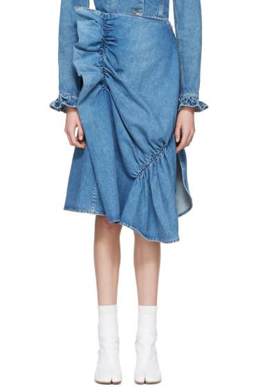 J.W. Anderson - Indigo Denim Ruffle Skirt