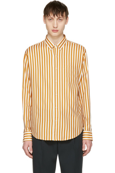 AMI Alexandre Mattiussi - Orange & Ecru Striped Shirt