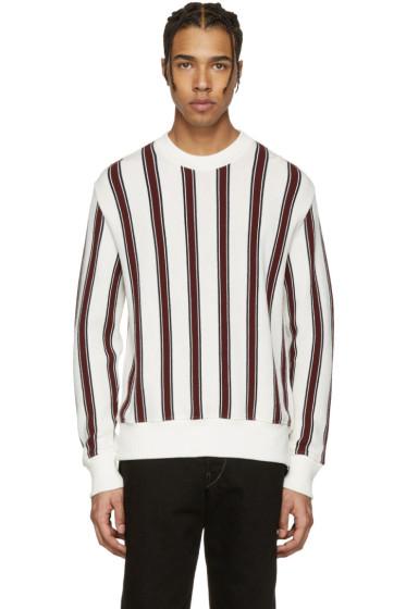 AMI Alexandre Mattiussi - Off-White & Burgundy Striped Sweater