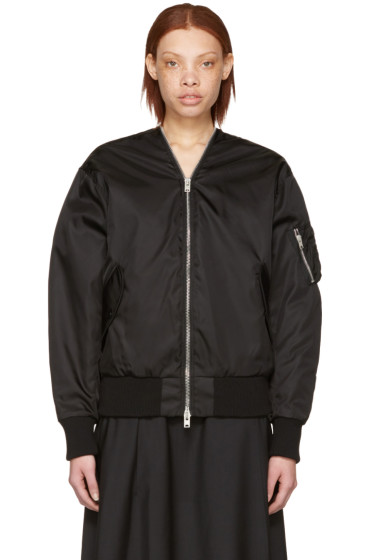 Yang Li - Black Zipped Bomber Jacket