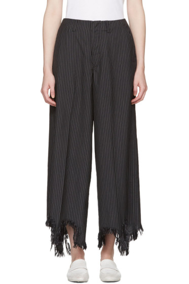 Facetasm - Black Pinstripe Torn Hem Trousers