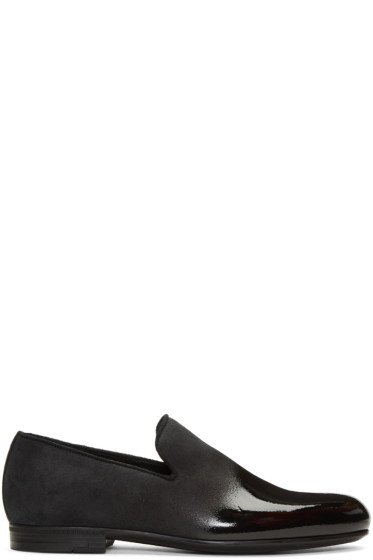 Jimmy Choo - Black Lacquered Suede Sloan Loafers