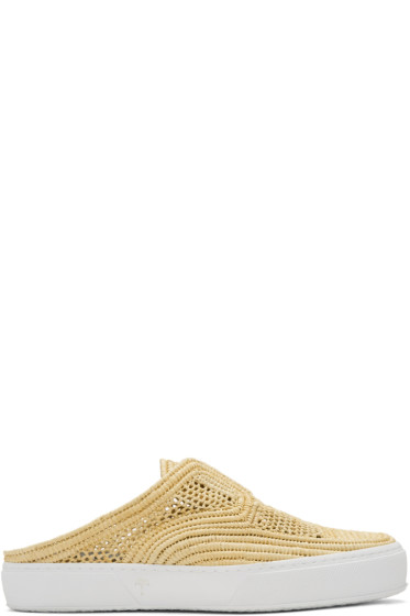 Robert Clergerie - Beige Teller Straw Stitch Slip-On Sneakers