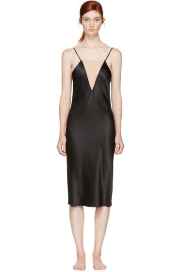 Fleur du Mal - Black Plunge Bias Slip Dress