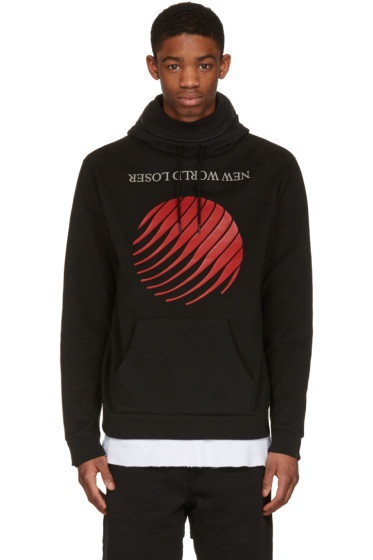 Hood by Air - Black 'New World Loser' Stuck Hoodie